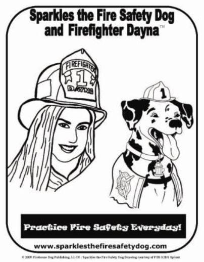 Sparkles The Fire Safety Dog Coloring Pages